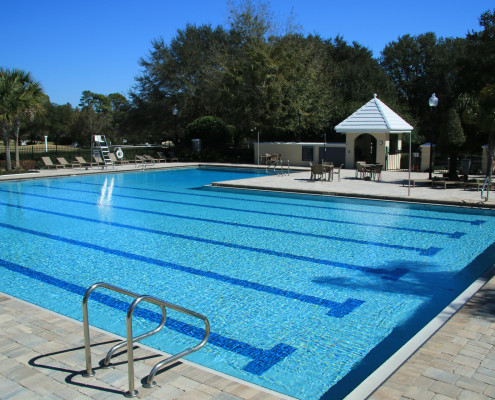 One of the highlights of the community is a junior-olympic-sized swimming pool which is open to residents year-round.